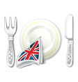 Plate Fork Knife and British Flag Breakfast vector image