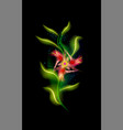 red modern glowing flower colorful ornamental vector image