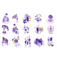 robotics isometric icons collection vector image vector image