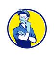 rosie riveter wearing mask circle mascot vector image vector image