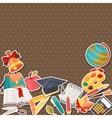 School background with education sticker icons and vector image