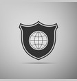 Shield with world globe icon isolated on grey
