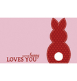 Single valentine rabbit wording vector image