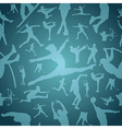 Sports silhouettes blue seamless pattern vector image vector image