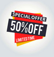 super sale and special offer 50 off theme color vector image