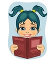 surprised little girl reading interesting book vector image