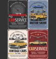 vintage cars auto vehicle spare parts and pistons vector image vector image