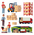 warehouse flat elements logistic transportation vector image vector image