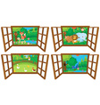 Windows with four views of farm and forest vector image vector image