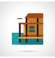 Lake house flat color design icon vector image