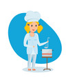 little girl in shape of chef stir and taste soup vector image