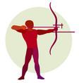archer silhouette bowman archery logo vector image