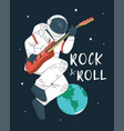 astronaut playing guitar vector image vector image