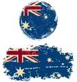 Australian round and square grunge flags vector image vector image