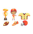 boy american football player with professional vector image