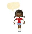 cartoon pretty girl with speech bubble vector image vector image