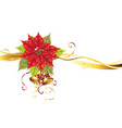 christmas banner with poinsettia vector image vector image