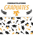 congratlations graduates banner design with cap vector image