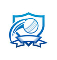 cricket ball shield badge icon vector image