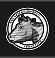 emblem with head a cow in an engraved style vector image vector image