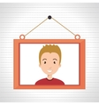 face boy framed picture hanging vector image