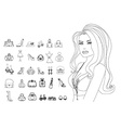 Fashion shopping icon doodle set vector image vector image