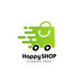fast shopping logo design stock happy shop logo vector image vector image