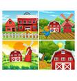 four scenes of farmyards vector image vector image
