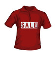 front view red color male t-shirt with sale vector image