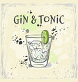 gin and tonic cocktail in vector image