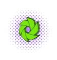 Green camera aperture icon comics style vector image