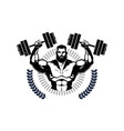 gym logo with training athletic man hold barbells vector image