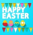 Happy Easter Title with Eggs on Blue Retro vector image