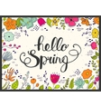 hello spring lettering with floral on background vector image