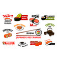 japanese restaurant sushi menu icons vector image vector image