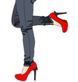 Jeans and Sexy Red High Heels vector image