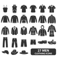 Men Clothing Icons vector image