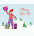 merry christmas woman with ugly sweater gifts vector image