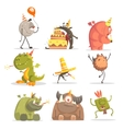 Monsters On Birthday Party In Funny Situations vector image vector image