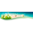 Nature summer background with grass flowers and vector image vector image