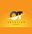 ot o t letter modern logo design with yellow vector image vector image