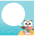 Owl Teaching On Table With Speech Bubble vector image vector image