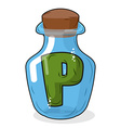 P in bottle for scientific research letter in a vector image vector image