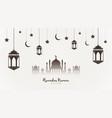 ramadan kareem background mosque silhouette vector image