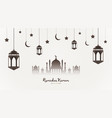 ramadan kareem background mosque silhouette with vector image vector image