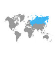 russia map selected blue color on world map vector image vector image