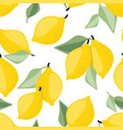 seamless pattern lemon and leaves vector image