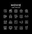set line icons movie vector image vector image