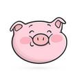shyly smiling emoticon icon emoji pig vector image