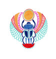 sketch marker drawing of egyptian deity scarab vector image